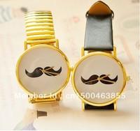 50pcs/lot 2013 New Arrival Fashion Unisex Golden mustache quartz watch for Gift Free Shipping