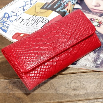 2013 Fashion Fish-scale pattern Clutch Quality genuine leather wallets for women Button&Fold Purse Money Holder Free Shipping