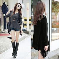 Womens Fashion Loose Long Sleeve Asymmetric Hem Casual T-Shirt  Long Blouse D0047
