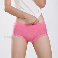 2014 New fashion (3 pieces/lot) women's panties modal bamboo fibre solid color mid waist seamless panties brand design plus size