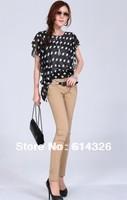 Women Fashion Polka Dot Chiffon Shirts Lady Round Neck Butterfly Sleeve Bow Plus Size Blouse S-4XL