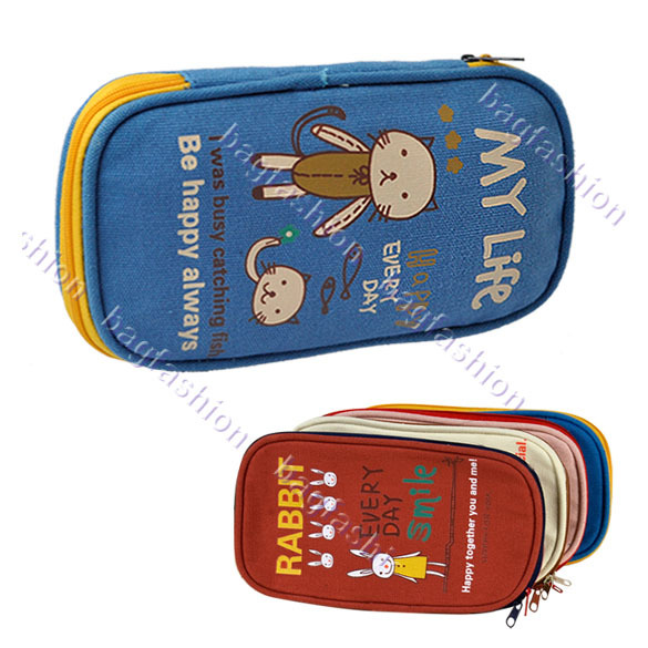 Free shipping 2013 Korean Lovely Animal Pen Bag Cartoon Ship Shape Canvas Pencil Pen Bags 9515(China (Mainland))