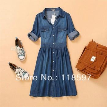 Lady's denim one piece dress Fashion summer thin blue slim jeans women's denim half three quarter sleeve plus size dress