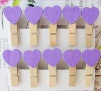 FREE SHIPPING Clip Exotic Heart Shaped Wood PURPLE Romantic Wedding Decoration Photo Snack Memo Gift 900pcs/lot say hi 081PP