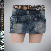 [ TC Jeans ] 2014 Summer women's personalized fashion short distrressed denim skorts denim dress boots shorts female