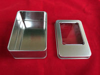 WholeSale 11.5x8.5x2.2cm open window Metal Tin Storage Boxes with sponge Tin cans Gift Packaging Cases, 35pcs/lot