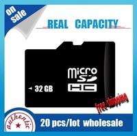 20pcs/lot wholesale 100% real capacity TF/Micro SD card 8GB class4/6 HC transflash 32gb c10 memory card  + adapter free shipping