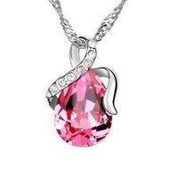Fashion women jewelry Austrian SWA elements crystal drop style wedding jewelry pendant necklace NE26