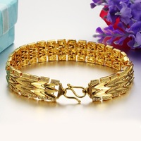 (min order 10$ ) 18 K Yellow gold plated bracelet for male and female length 17.5 cm width 12 mm never fade hot selling 367