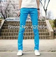 British Style Pants Mens Slim Straight Trousers Business Leisure Pants sky blue color 127