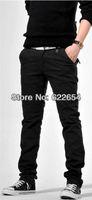 Candy Autumn Men Slim Cotton Multi-Colored Trousers Casual Pants black color k127