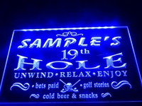 DZ010-b Name Personalized Custom Golf 19th Hole Bar Beer Neon Sign led sign