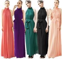 Free shipping New Fashion Women Long Chiffon Beach Dress Hight Quality Five Color Khaki Green Pink Watermelon Red wine red 12602