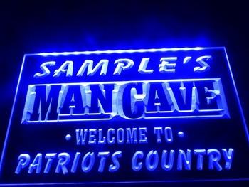 DZ036-b Name Personalized Custom Man Cave Patriots Country Pub Bar Beer Neon Sign Led Hang Doorplate Shop Ultra-thin Light Box