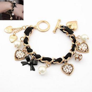 Brand Designed Street Korean Sweet Imitation Pearls Pendant Leopard Heart Charm Bracelet Bangles For Women 2014 Wholesale PD26(China (Mainland))