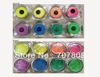 Free shipping 8PCS Glitter Tattoo Fluorescent powder / 2013 NEW Popular Temporary Body Art supply