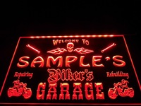 DZ051- Name Personalized Custom Biker's Garage Motorcycle Repair Bar Neon Sign  hang sign home decor shop crafts led sign