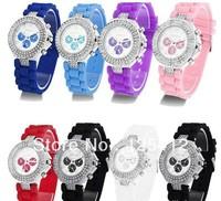 100pcs/lot  2013 Popular Unisex Silicone Quartz Jelly Double Diamond Geneva Wrist Watch Free shipping