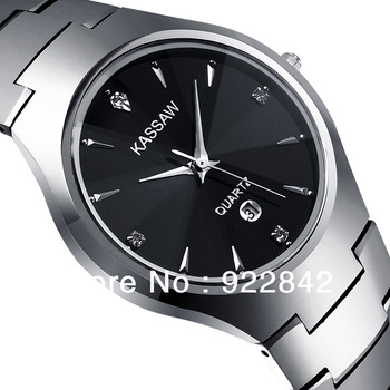 Kassaw Mens Sapphire Watch Male Tungsten Steel Quartz Watch Waterproof 200m Business Casual Vintage Table Double Snap Button