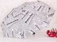 free shipping  Creative English-language newspaper umbrellas, stylish clear umbrella, wind, rain, UV, Ms. Favorites