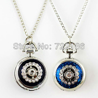 2014 Hot Sale Luxury Jewelry Elegant Imitated Crystal Fashion Blue and Black Two Color Alloy Pocket Watch