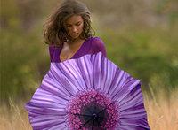 Purple Daisy printing design, Rain or shine dual-use umbrellas , UV sun umbrella fold