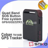 EMS Free shipping 10pcs/lot Coban GPS Tracker TK102B 102-2 Car Charger SOS Shock Sensor Sleep Function 4 band Tracking Device