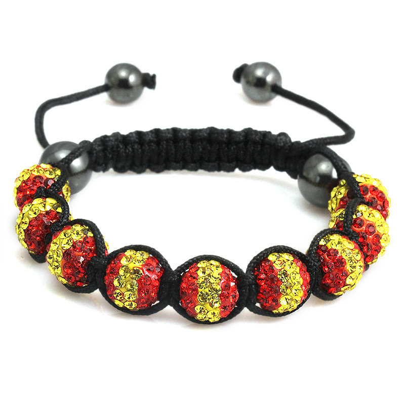 Discount Wholesale Handmade Jewelry Shamballa Spanish Italian flag Crystal Bracelet Men for Women Fashion Jewelry 2013(China (Mainland))