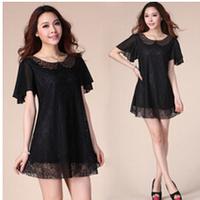Free Shipping!  Plus size Women  Clothing Summer Fat MM 2014 lace Chiffon Loose Dress L, XL, XXL, XXXL, 4XL