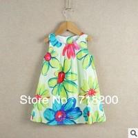 100%cotton girls summer dress with flower, baby girls fashion dresses, children dress,kids clothing