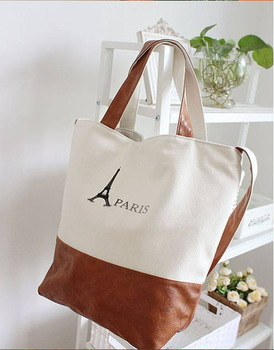 2014 new arrived Wholesale new PARIS large capacity canvas shoulder aslant bag free shipping c107