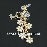 Min.order is $10 (mix order)Free Shipping Bling Enamel Flower Universal 3.5mm Anti Dust dustproof Jack Plug Cap Charm for iPhone