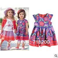 2013 summer girls 100%cotton dress with print flower baby girl flower dress kids clothing 2T-6T