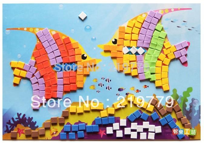 9 designs New arrrival handmade 3D EVA DIY Mosaic Sticker Children's educational toy Ocean Sea Animals Transportation Tools(China (Mainland))