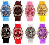 WholeSale! Fashion Women Colorful GENEVA  Diamond Quartz Dress Watch Popular Ladies Silicone Crystal Quartz Relogio WristWatches
