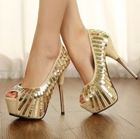 2013 Sexy Women's Pumps 14cm Ultra High Heels With Gold Track Spikes Platform sequins wedding Party Dance Shoes size 35-39