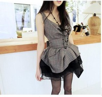 Free Shipping 2013 women's lady's Vintage pleated waist belt dress mini plaid dress ruffle dress above knee V-neck full dress