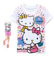 Retail 2013 new summer short sleeve t-shirts for girls hello kitty cotton baby girl t-shirt children's t-shirt A095