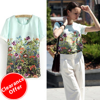 2013 New Fashion Designer Summer Women Flowers Hot Sale O-Neck Casual Chiffon Light Green Short Sleeve Florals Printed Blouse