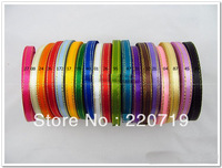 "Free shipping 2/8"" (6mm) Phnom Penh single face Satin Ribbon/webbing decoration/crafts materials DIY Ribbon many colors choose"