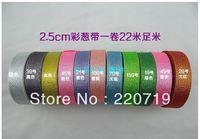 "Free Shipping 1"" (25-26mm) wide 25yards/roll gold and silver onions metallic ribbon gift wrap ribbon wedding ribbon"