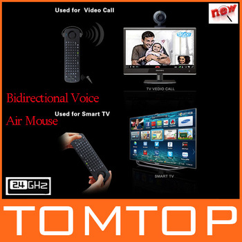 2014 NEW 2.4G Bidirectional Voice Air Mouse Wireless Keyboard Remote Control for PC Android TV Box Smart TV
