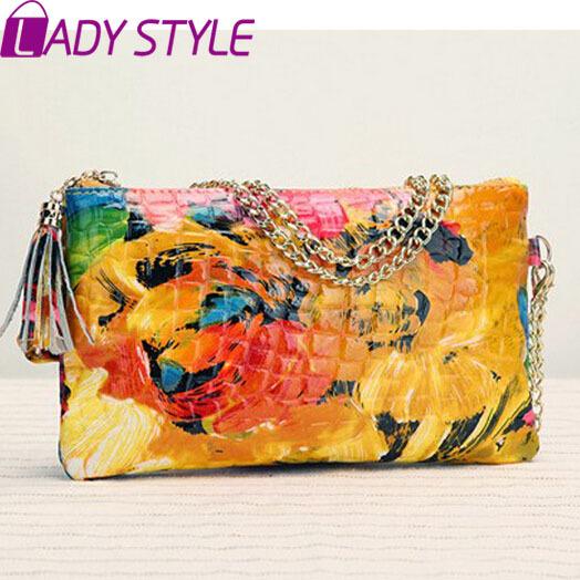 2015 Hot Wholesale PU Leather Fashion Women Handbag Hand-weaved Wooden Handle Clutch Bag women Messenger Bags WQ001(China (Mainland))