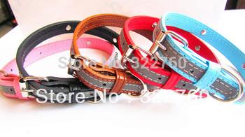 free shipping large Reflective PU leather dog collar pet product