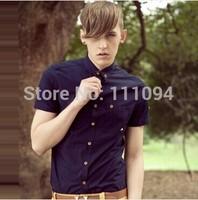 2014 New arrival hot-selling men's casual shirt slim short-sleeve shirt for men,6 colors,M-XXXL