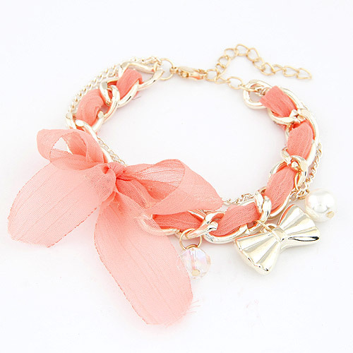 Brand Designed Fashion Cute Lace Flower Bowknot Pendant Charm Cross Chain Bracelet Statement Jewelry Accessories for Women PD26(China (Mainland))