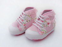 Free Shipping PInk Flower Girl Sneaker Shoes 11cm - 13 cm Skidproof Soft Outsole Baby Shoes Toddler Shoes BS0032