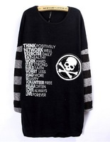 Fashion Loose Long-sleeved T-shirt Skulls Big Size Women Fashion Black t-shirts Free Shipping