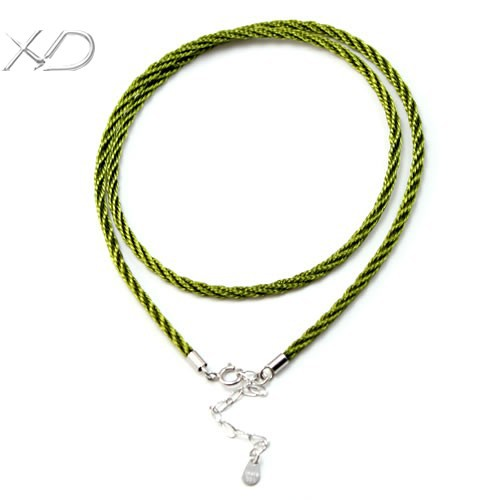 XD Cotton rope necklace in jewelry cords 2.0mm Braided fiber chain with 925 sterling silver clasps and extended chain MT00602(China (Mainland))