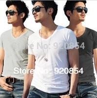 Free Shipping,2013 New Brand Hot  Men Cotton T Shirts,V neck, Short Sleeves,Man Tshirts, Undershirt, Waistcoat, 2pcs/lot,AT031